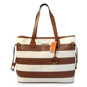 Michael Kors Striped Lace Large Coffee Totes